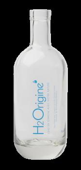 Bouteille en verre H2Origine pour l'eau plate en restauration